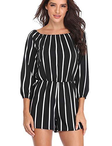 Dilgul Women's 3/4 Sleeve Striped Jumpsuit Rompers Boat Neck Sexy Off Shoulder Short Pant Playsuit Black XL