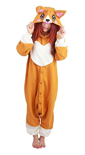 Women Men Adult Orange Corgi Dog Unisex Anime Christmas Halloween Carnival Cosplay Kigurumi Outfit Costume Onesies Pajamas Romper Clothing Piece (Dog Costume Winners)