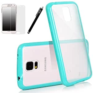 E LV Slim Fit Flex TPU+PC Case Cover for Samsung Galaxy S5 i9600 with 1 Clear Screen Protector, 1 Black Stylus and 1 E LV Microfiber Digital Cleaner (Samsung Galaxy S5, Turquoise)