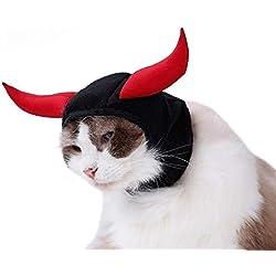 wsloftyGYd Halloween Cat Ox Demon Animal Headgear Pet Cat Kitten Headwear Decoration New Halloween Cat ox Demon King Pet Wig Black + Red