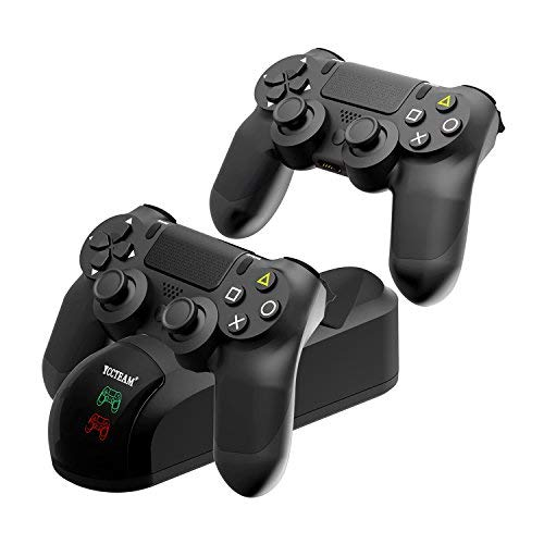 YCCTEAM PS4 Controller Charger - DualShock 4 Charging Dock Station Fast Charging Stand Holder Kit 2 USB Charging Ports - USB Cable and 4 Thumb Grips Accessories Included