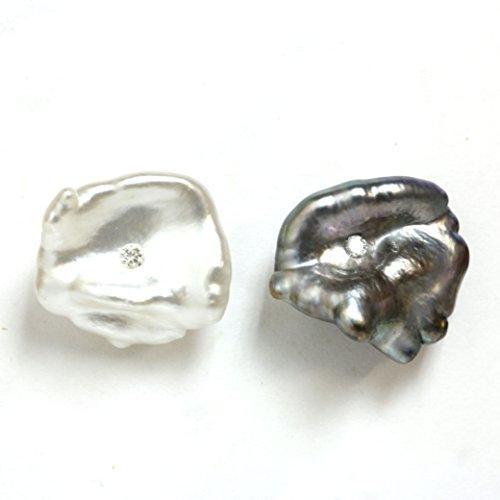 Diamond Embedded Saltwater Keshi Pearl Earrings 14k gold - Baroque Shape Gold Keshi Pearls