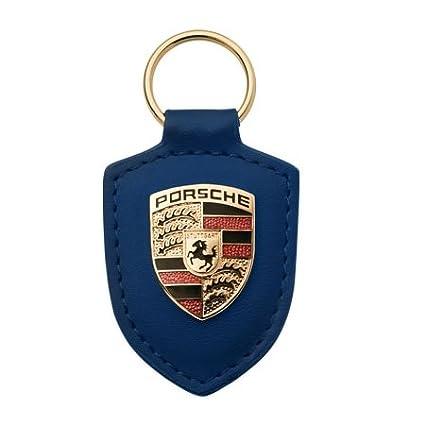 Porsche Llavero con escudo de piel, color azul: Amazon.es ...