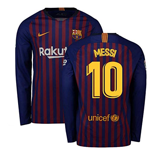 Feet Long Sleeve - 2018-2019 Barcelona Home Nike Long Sleeve Football Soccer T-Shirt Jersey (Lionel Messi 10)