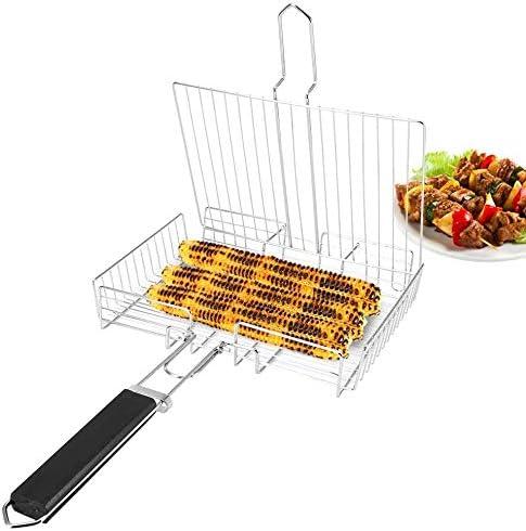 Platz Grill Netz, Hand Grill Netz Metalldraht Clamp Gegrillter Fisch Hähnchen Net Edelstahl BBQ-Tool Clip