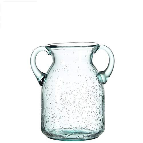 Flower Vase Glass Elegant Double Ear Decorative Handmade Air Bubbles Bluish Color Glass Vase for Home Decor (Small) ()