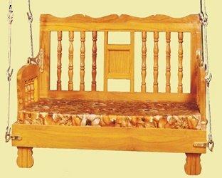 Kaushalendra Garden Zula Swing Wooden Hanging Hammock Swing Chair Teak Set 122 (4ft.) cm