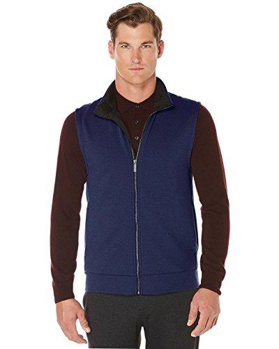 Perry Ellis Full Zip Textured Sweater Vest Dark Sapphire Blue XX-Large