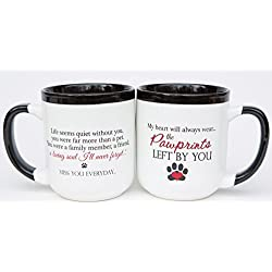 "Pet Memorial Coffee Mug with ""Pawprints Left by You"" Sentiment - 16 oz Ceramic Coffee or Tea Mug for Grieving Pet Owners"