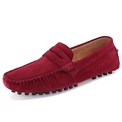 Scarpe Camminando Pelle Uomo ODEMA in Rosso Scamosciata Barca di Pantofole Casual On Basse Mocassino Flat Viaggio Slip Scarpe da 0aS5Swxd