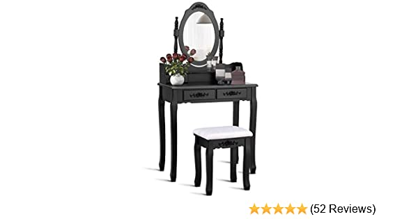 Giantex Vanity Set with Stool, A Makeup Table with 4 Drawers, Room Dresser  Desk Vanity Oval Mirror and Padded Vanity Stool, Dressing Tables for ...