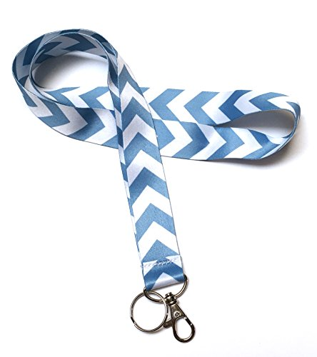 ck LANYARDs Keychain for Key / ID Holder (Navy Dark Blue / White Chevron) … (Light Blue / White Chevron) (Polyester Lanyard)
