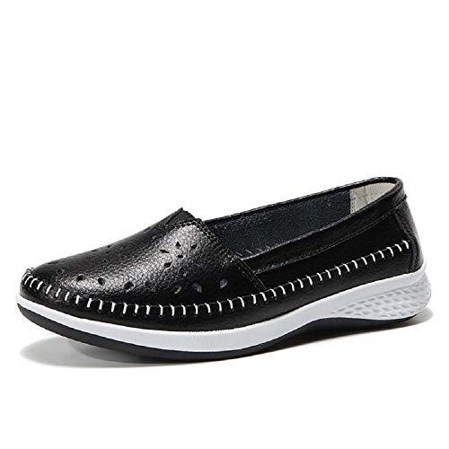 Qiusa Ahuecar los Zapatos de Las Mujeres de Cuero Respirables de Gran tamaño Entrenadores (Color : Azul, tamaño : EU 39) Negro