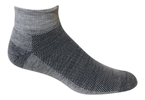 1/4 Cycling Sock - Alpaca Wool Running, Cycling, Hiking Multi Sport 1/4 Socks , Unisex Adult, Pack of 2 … (Medium (women 6-9, men 6-8.5), gray)