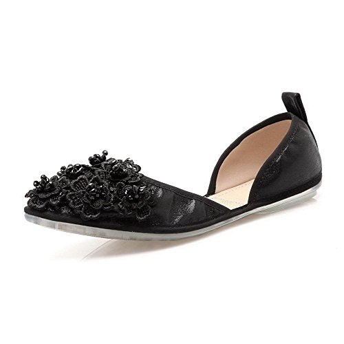AalarDom Women's Pointed Closed Toe Pu Pull-On Low-Heels Pumps-Shoes with Flowers, Black-Flowers, 40