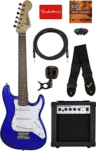 Squier by Fender Mini Strat Electric Guitar – Imperial Blue Bundle with Amplifier, Instrument Cable, Tuner, Strap, Picks, Fender Play Online Lessons, and Austin Bazaar Instructional DVD