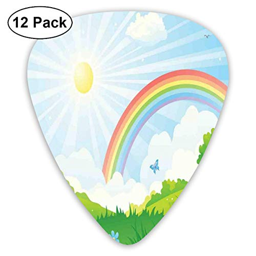 (Guitar Picks - Abstract Art Colorful Designs,Cartoon Summer Nature With Sun And Rainbow Over Blooming Flowers And Butterflies,Unique Guitar Gift,For Bass Electric & Acoustic Guitars-12 Pack)