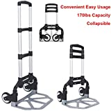 170lbs Folding Hand Truck Aluminum Portable Folding Collapsible Hand Cart 170lbs Capacity Hand Cart and Dolly Ideal for Home, Auto, Office and Travel Use