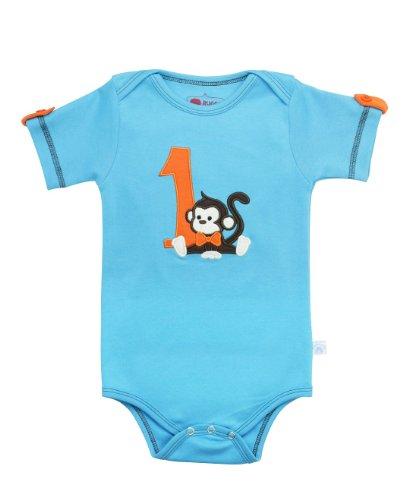 RuggedButts Baby/Toddler Boys 1st Birthday Short Sleeve Bodysuit w/Monkey - 12-18m Blue ()