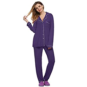 Ekouaer 2 Piece Long Sleeve Sleep Set Women's Pajamas