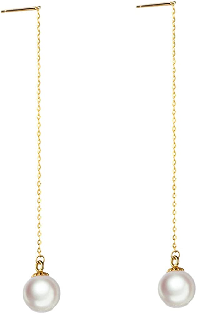 14K Solid Yellow Gold dangling Natural 7mm Cultured pearl Pendant