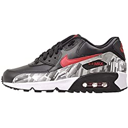 Nike 844602-001 Kid's Air Max 90 Leather Running Shoes, Black/Gym Red/White, 6 M US Big Kid