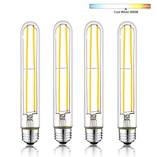 Novelux T10 Led Bulb, Edison Led Bulbs Household Staples, 7.3 Inch Long Tubular Light Bulb, Dimmable E26 Medium Base Led Bulb 6W, Vintage Tube Bulb UL Listed (Cool White 4000K, Pack of 4)
