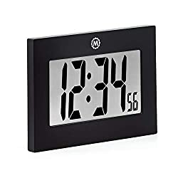 Marathon CL030064 Large Digital Wall Clock with Fold-Out Table Stand. Size is 9 inches with Big 3.25 Inch Digits. Batteries Included (Black)