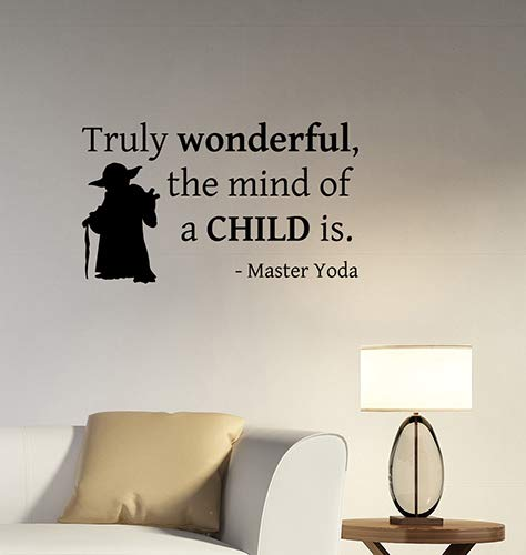 Truly Wonderful The Mind of A Child is Jedi Master Yoda Inspirational Quote Wall Sticker Star Wars Motivational Saying Vinyl Decal Movie Art Decorations for Home Room Bedroom Office Decor sws20