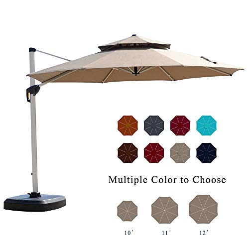 PURPLE LEAF 12 Feet Double Top Round Deluxe Patio Umbrella Offset Hanging Umbrella Outdoor Market Umbrella Garden Umbrella, Beige