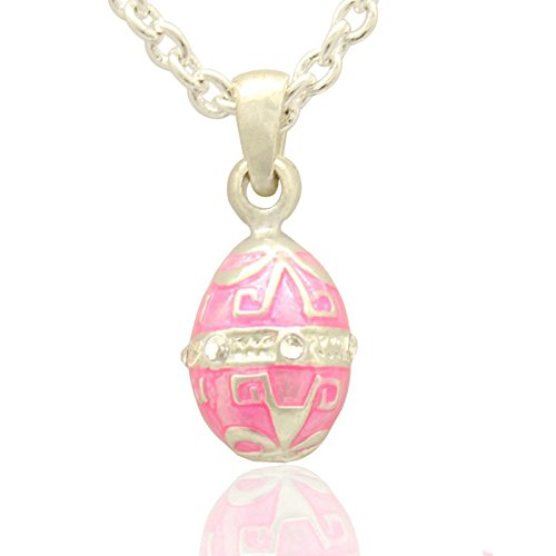 MYD Jewelry Multicolor Enameled Faberge Egg Easter Egg Pendant Necklace for Ladies (Silver Pink Necklace) (Easter Jewelry)