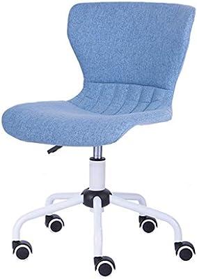 Silla ergonómica de Malla para Oficina sin Brazos, sillas giratorias de Respaldo Medio, Base de Acero de Altura Ajustable de 10 cm, en Azul: Amazon.es: Hogar