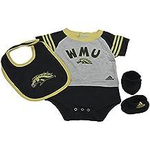 OuterStuff Western Michigan Broncos Baby Clothing, University 3 Piece Creeper Bib Booties Apparel Set