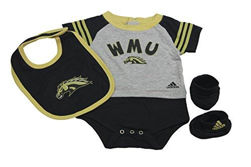 Outerstuff Western Michigan Broncos Baby Clothing, University 3 Piece Creeper Bib Booties Apparel Set ()