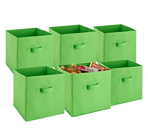 Foldable Cube Storage Bins - 6 Pack - These Decorative Fabric Storage Cubes are Collapsible and Great Organizer for Shelf, Closet or Underbed. Convenient for Clothes or Kids Toy Storage Unit (Green) Fabric Folding Bin
