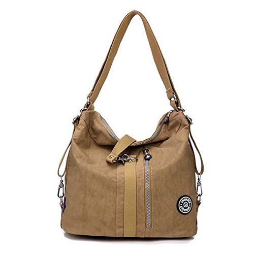 Light Function and Backpack Nylon Shoulder Handbags Gracosy Multi Women's Bags Sling Beige Versatile 12X11X7inch Fashion Bag wq1fFUxP