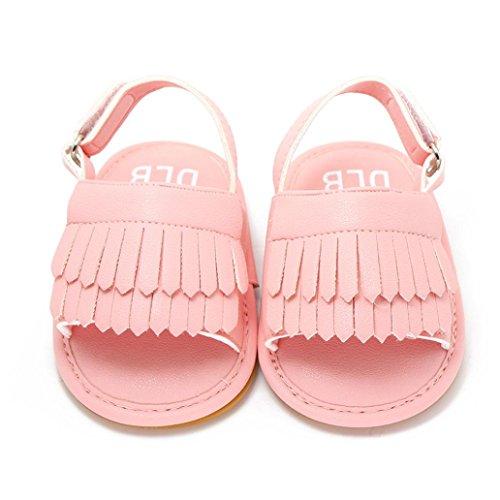 Tefamoer Zapatos Sandalias Bebe de borla pequeño Princesa Walkers Niñas Niños Rosa