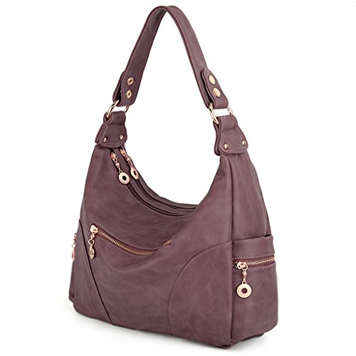 UTO Women Handbag PU Leather Purse Hobo Style Multi Pocktets Shoulder Bag Taro Purple by UTO