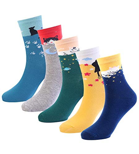 Women's Funny Cat Socks Cotton Fun Novelty Cute Pack of 5]()