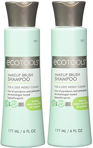 Ecotools Cruelty Free and Eco Friendly Makeup Brush Cleansing Shampoo, 6 Ounce; Wash Away Surface Makeup, Oil, and Impurities from Brushes (Pack of 2)