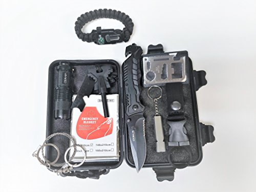 Compact 10-in-1 Premium Emergency Survival and Tactical Kit, Outdoor SOS gear with foldable knife, fire starter, emergency blanket, LED Flashlight ect. Tools ideal for Camping/Hiking/Traveling
