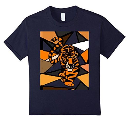 unisex-child Smiletodaytees Fun Prowling Tiger Art T-shirt 6 Navy