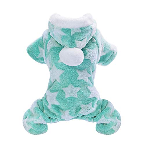 Cute Dog Clothes Jumpsuit Warm Winter Puppy Cat Coat Costume Pet Clothing Outfit Small Medium Dogs Cats Chihuahua Yorkshire,Green,S