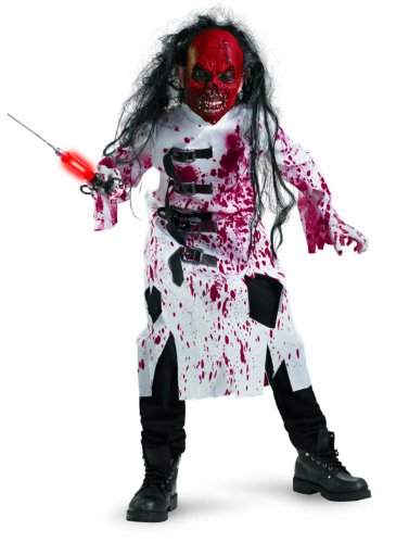 [Demented Doctor Costume, Black/Red/White, Large/10-12] (Kids Zombie Doctor Costumes)