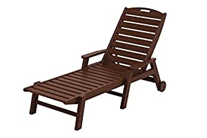 "78,5""reciclado energía al aire libre con ruedas Chaise Lounge brazo silla–madera de caoba"