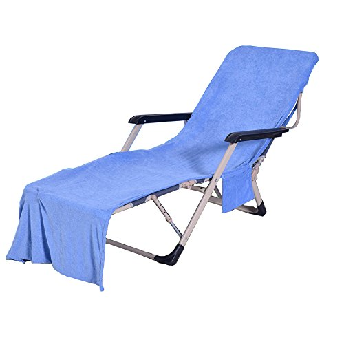 WiseHome Chaise Lounge Pool Chair Cover Beach Towel Fitted Elastic Pocket Won't Slide Blue 83'' L x 30'' W by WiseHome