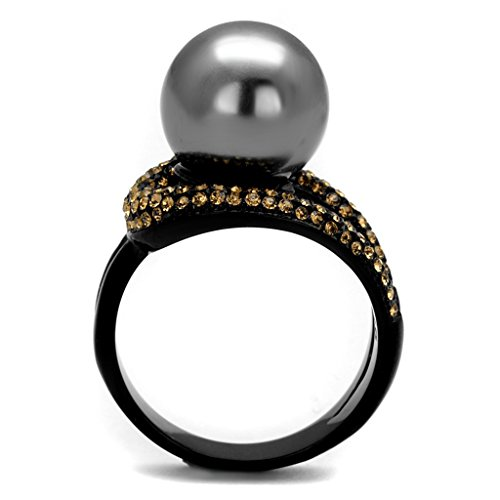 Eternal Sparkles Grey Simulated Pearl with Orange Crystal Stones on IP Black Plated Stainless Steel Cocktail Ring