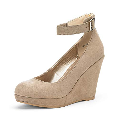 DREAM PAIRS Women's ASH-22 Nude Suede Mary Jane Round Toe Platform Fashion Wedges Pumps Shoes Size 9.5 US (Shoes Jane Mary Wedge)