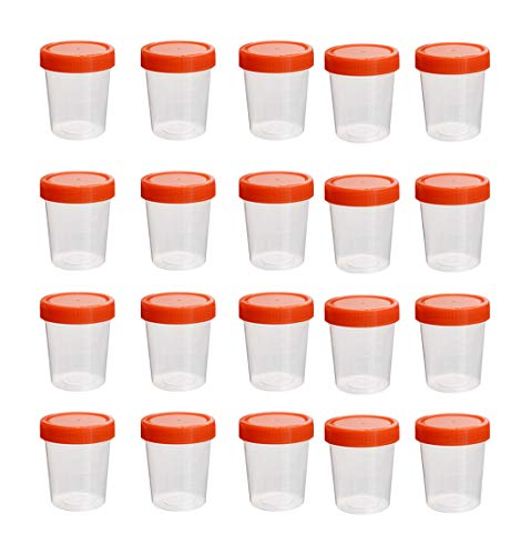 YXQ 20Pcs 120ML Sterile Specimen Cups with Lids 3OZ Screw-on Cap Red Cover Measuring Containers Seal Clear Transparent - Seal Cup Lid
