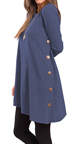 Side Button Long Tunic T Shirts For Women Long Sleeve Round Neck Trendy (XXL, Dark Blue)